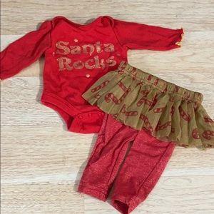 Santa Rocks Newborn Christmas Outfit
